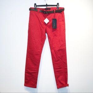 NWT Zara Men Red Flat Front Stretch Chino Pants